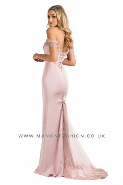 Off Shoulder Rose Pink Slimfit dress