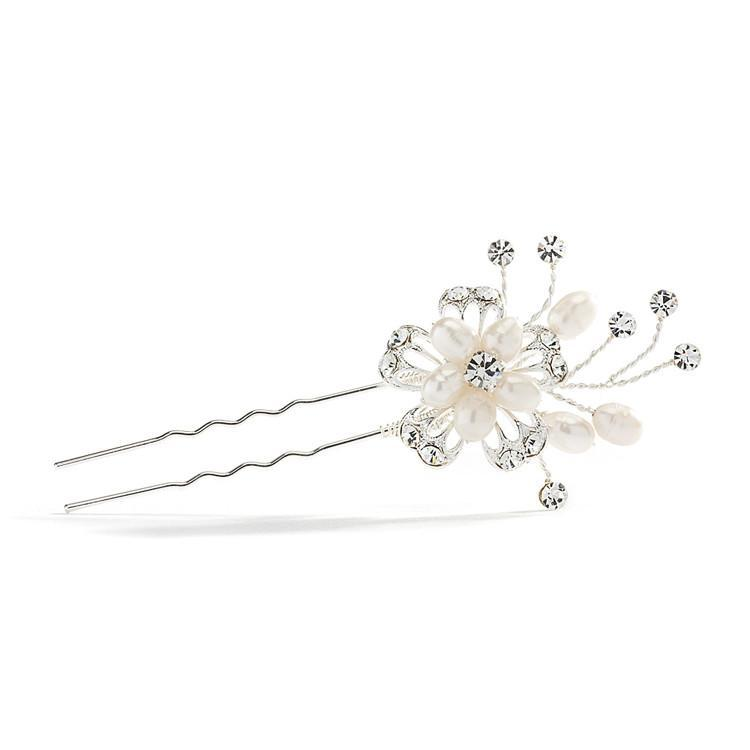 Hair Pin Flower Crystal