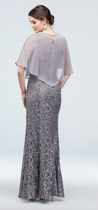Cape Dress Silver Sequin Lace