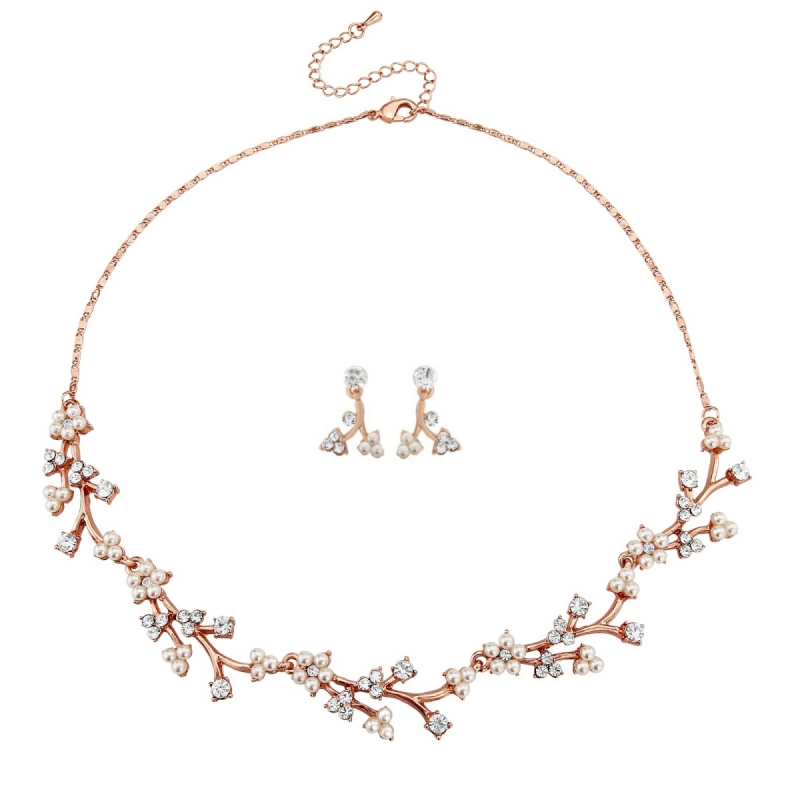 Dainty Daisy Necklace Set Rose Gold