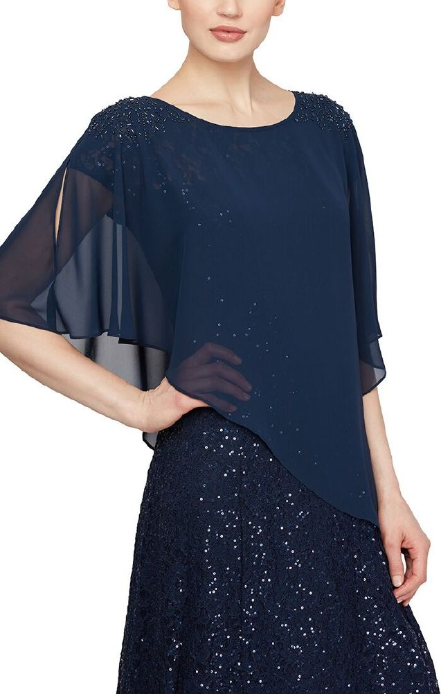 Shawl Beaded Shoulders Navy