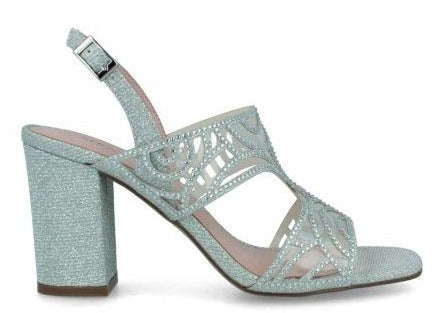 Patterned Block Heels Silver