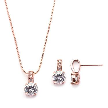 Round Cut Rose Gold Earrings & Necklace