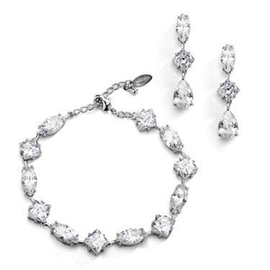 Multi Shape Crystal Earring & Bracelet