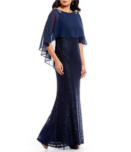 Selskapskjole navy blonde kort cape Beaded Shoulder