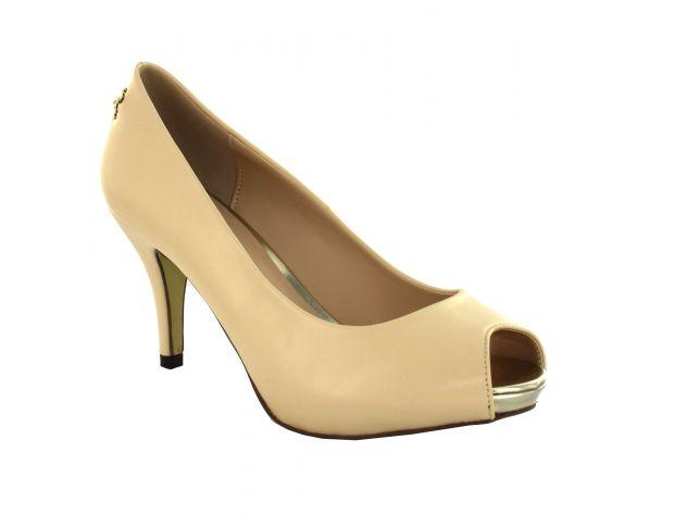 Classic Peep-toe Leather Pump Nude