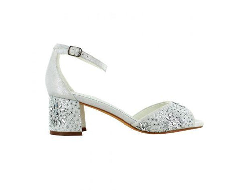 Ankle Strap Heels Crystal White
