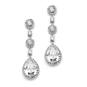 Pear-shaped Drop Earrings Silver