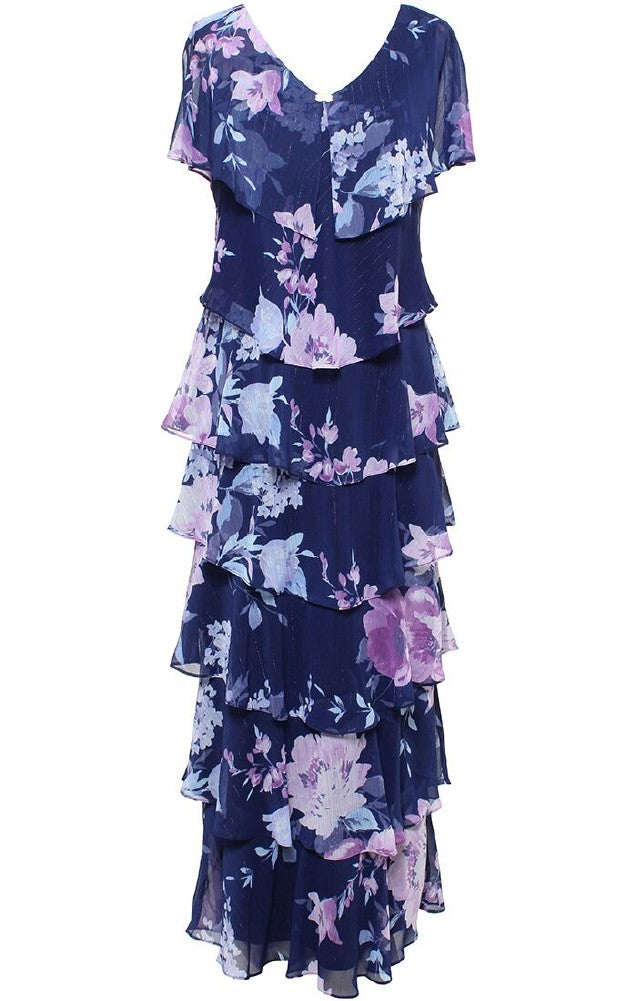 Selskapskjole Layered Floral Tier Dress