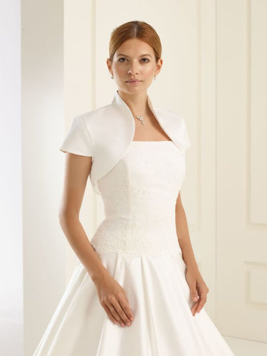 Bolero Satin Short sleeve Bianco Evento