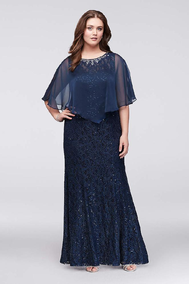 Cape Dress Navy Lace