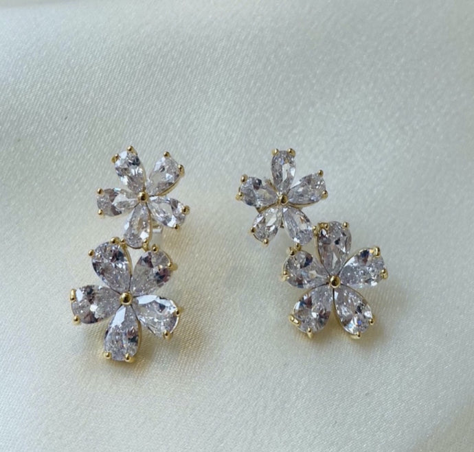 Silver doble flower earrings