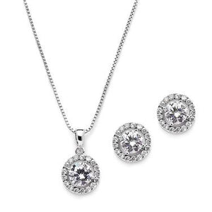 Round Halo Studs & Necklace Set