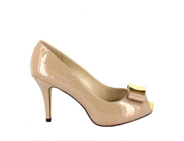 Coated Bow Peep-toe Pump