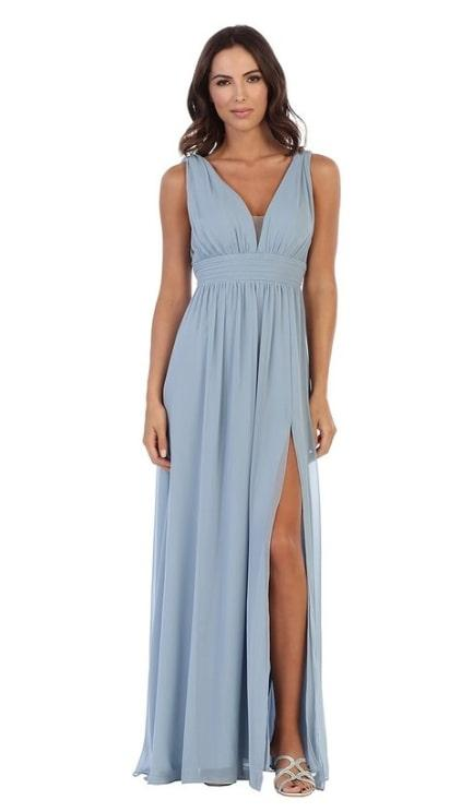 Grecian V-Neck Chiffon Dress