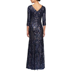 "Selskapskjole ""Allover Sequin Detail"" Navy/nude"