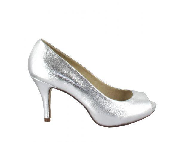 Leather Peep-toe Pump 8 cm Skinn utside & innside