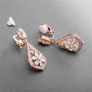 Rose Gold Art Deco Clip-On Earrings Øredobber med clips.