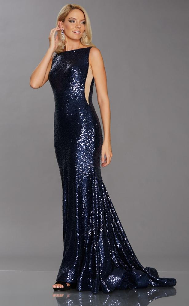 Dress Pixie Sequins Navy with train