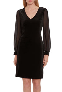 Drita Velvet Dress w/ Chiffon Sleeves Kort kjole Sort