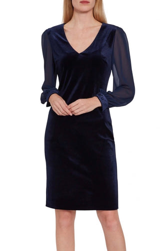 Drita Velvet Dress w/ Chiffon Sleeves navy