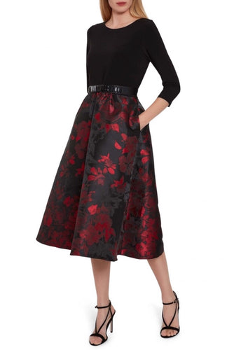 Jette Jacquard Dress w/ sleeves Mønstrete skjørt Midi
