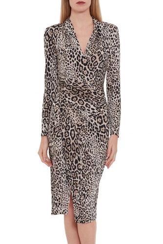 Leopard-Skin Jersey Wrap Dress