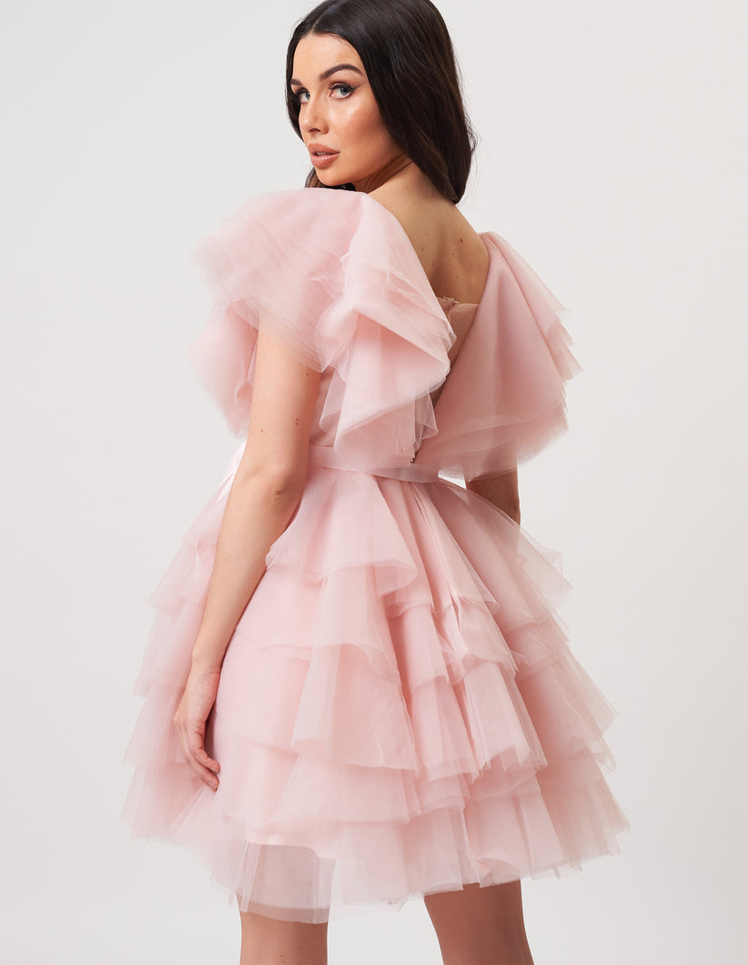 Unique Babydoll Pink Tulle Dress