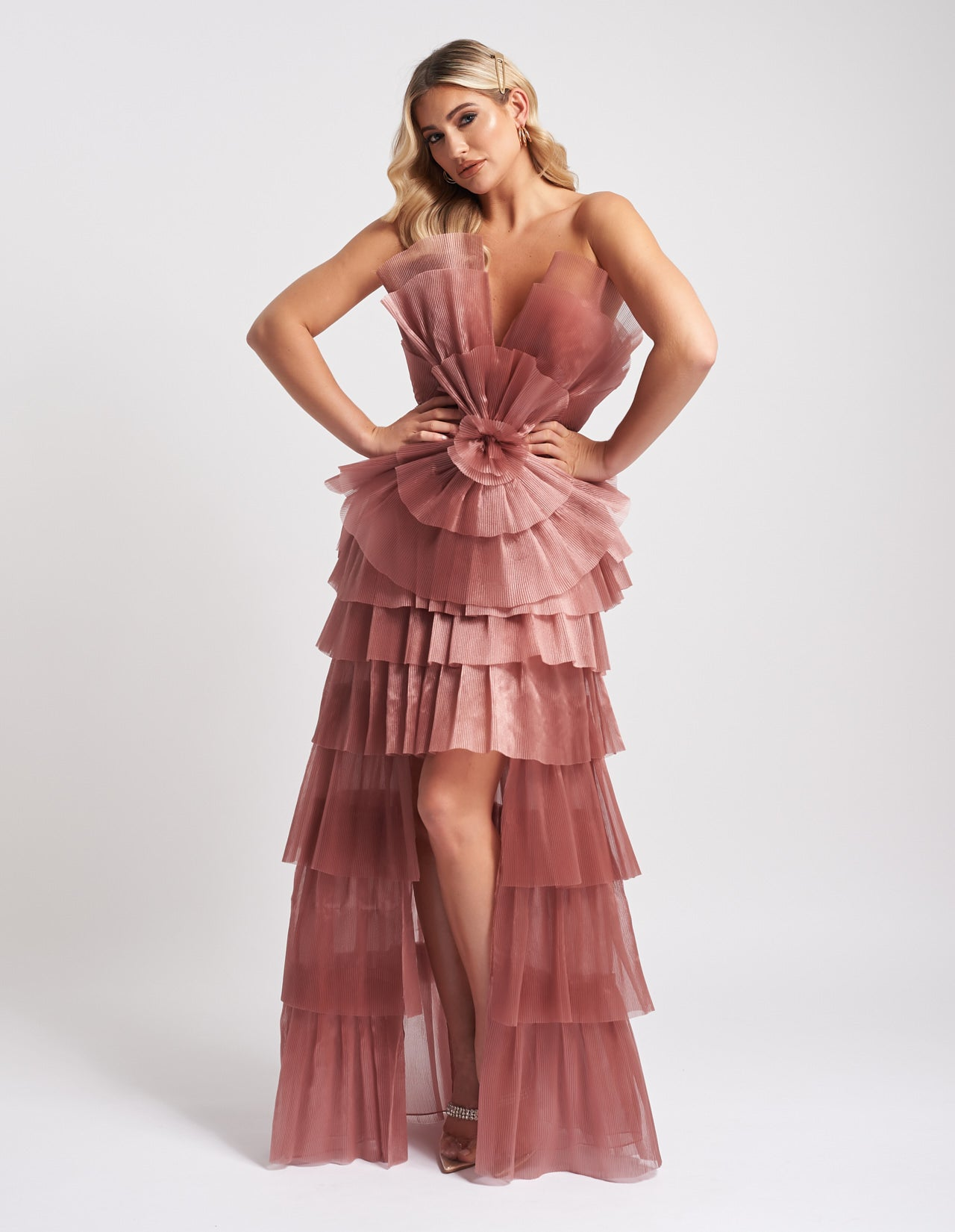 Unique Rhonda Blush Crepe Dress