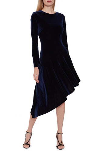 Stretch Velvet Asymmetric Peplum Dress