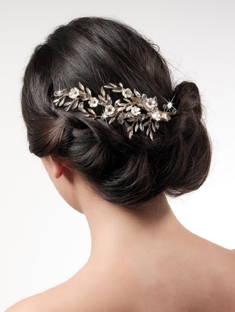 Leaves & Crystals Floral Vine Hair Clip