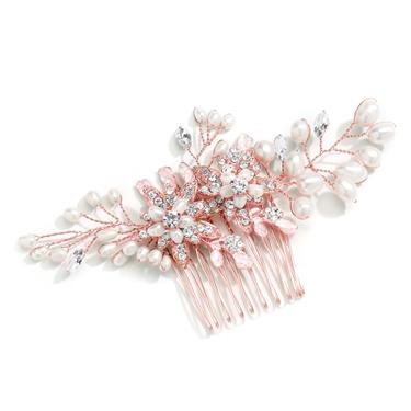 Freshwater Pearl Comb W. Crystal Leaves