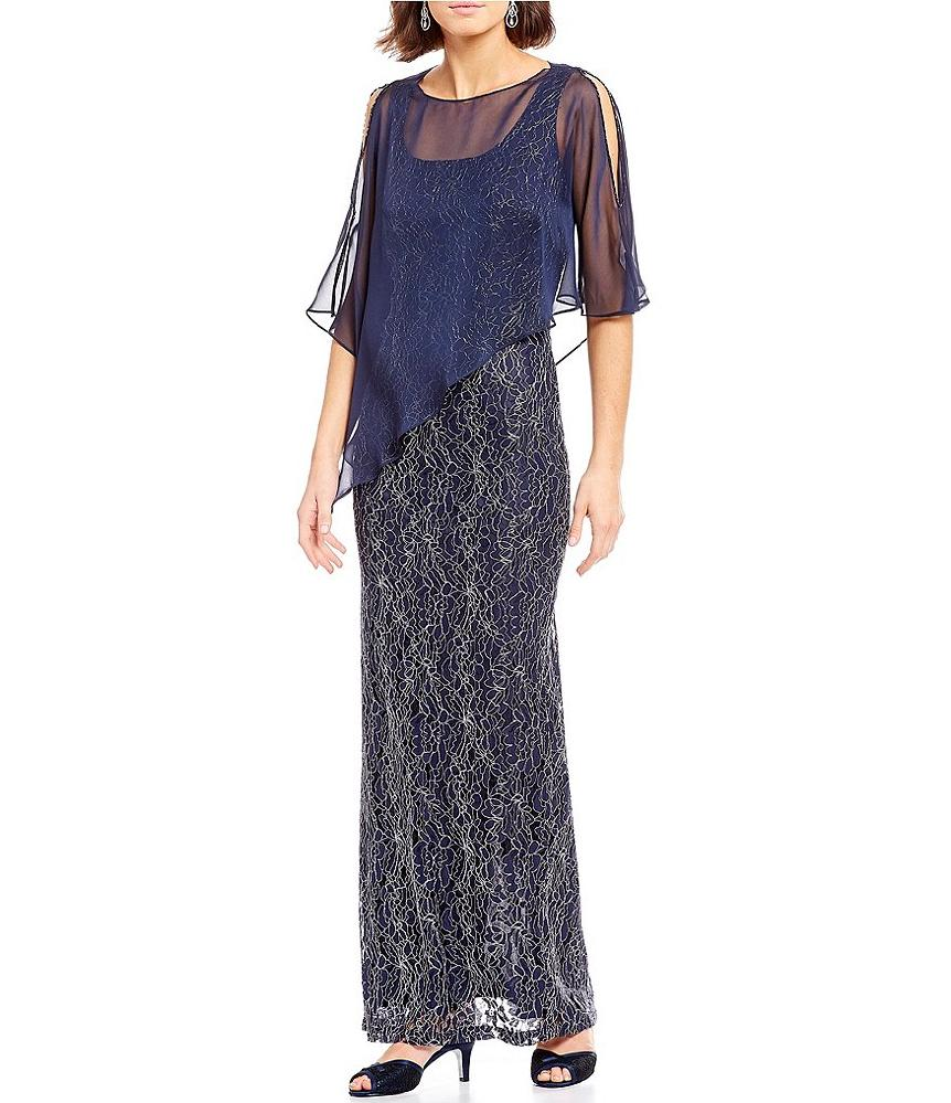 Cape Dress Metallic Lace