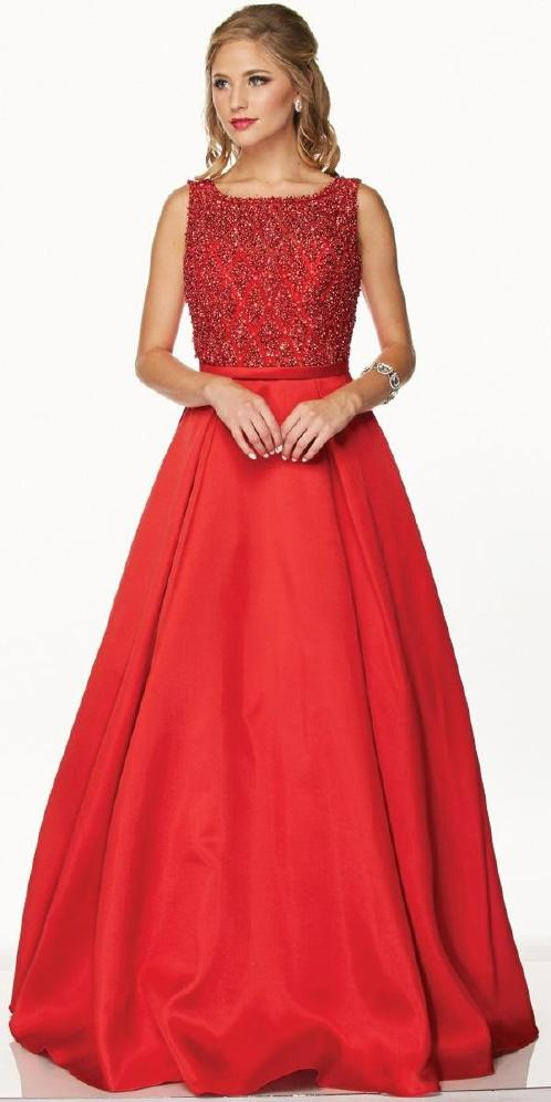 Glitter & Satin Gown Red Ballkjole, sateng