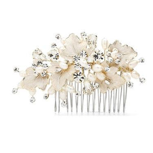 Haircomb Handpainted Leaves & Crystals