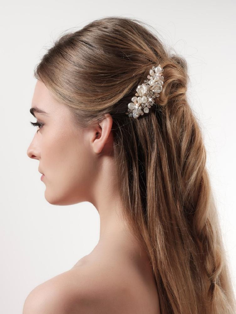 Mother of Pearl Crystal Haircomb