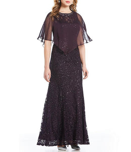 Kjole Sequins Cape Plum