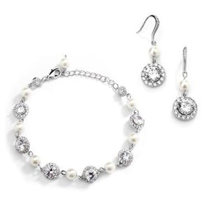 Pearl Sparkle Bracelet & Earrings Sett