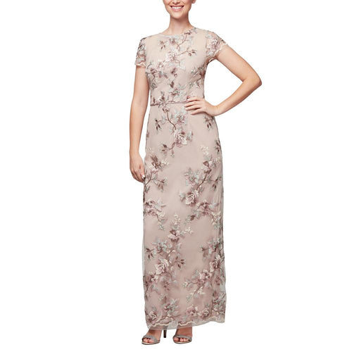 Dress Embroidery Nude Floral