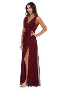Grecian V-Neck Chiffon Burgundy Dress