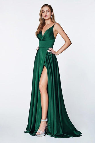 V-neck Satin Gown Emerald