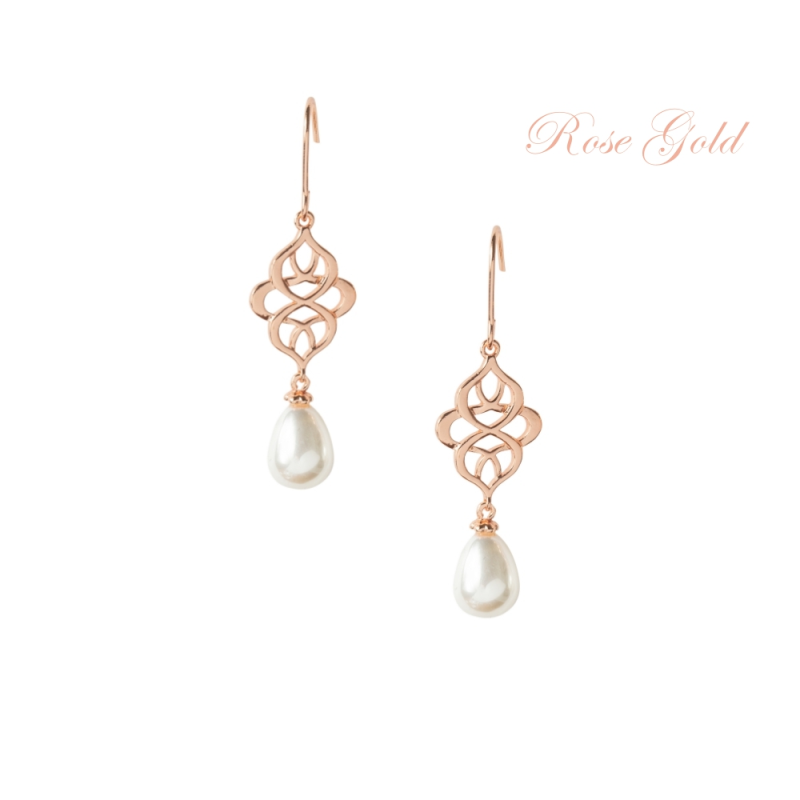 Celtic Knot Bridal Earrings Rose Gold