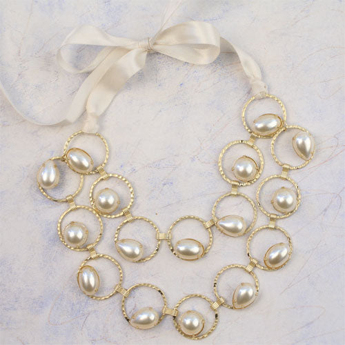Luxe Pearl & Ribbon Necklace