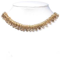 Gold Chain Chain With Swarovski Crystal Choker Set