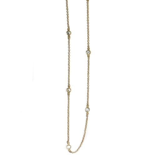 Crystal Gem with Gold Chain Necklace
