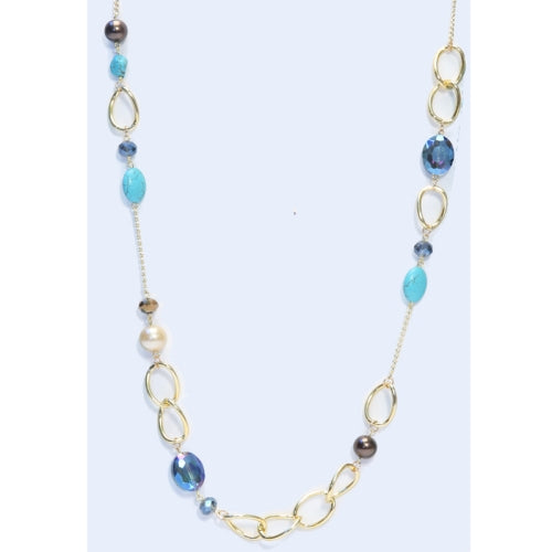 Long Blue/Gold Crystal Combo Necklace Set
