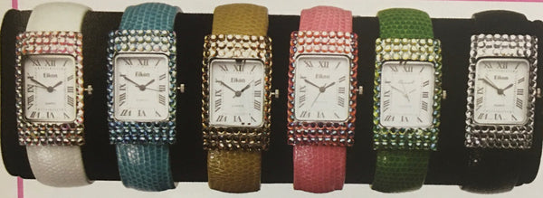 6 asst. cuff watches leather and rhinestones