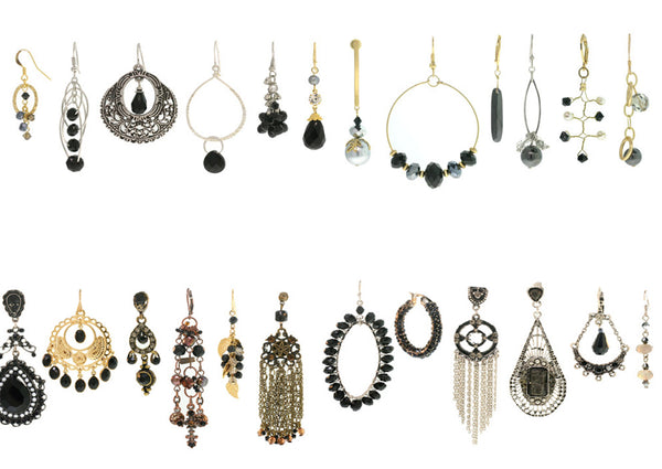 12 Black Earrings