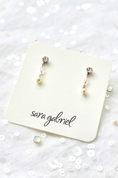 Crystal and pearl mini drop earrings | Sara Gabriel