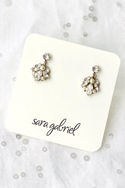 Delicate floral crystal bridesmaids earrings | Sara Gabriel